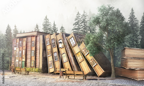 Plakaty do biblioteki library-concept-fantasy-literature-stack-of-old-books-as-street-of-the-city-3d-illustration
