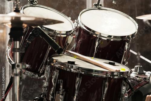 Fotografiet Detail of a drum kit closeup