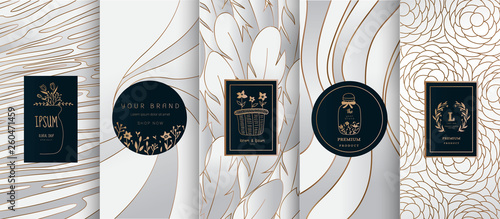 Staande foto Retro sign Collection of design elements,labels,icon,frames, for logo,packaging,design of luxury products.for perfume,soap,wine, lotion.Made with Isolated on black background.vector illustration