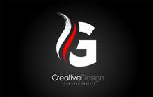 White And Red G Letter Design Brush Paint Stroke. Letter Logo On Black Background