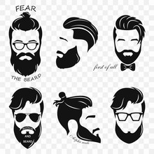 Set Of Different Silhouettes Of Bearded Hipsters. Bearded Men, Avatar, Hipster With Different Haircut. Male Face With A Mustache And Beard. Vector Illustration With A Transparent Background For A Prin
