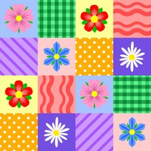 Bright Patchwork Pattern With Different Flowers. Vector Design.