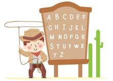 Kid Boy Cowboy Rope Alphabet Board Illustration