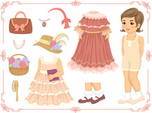 Kid Girl Doll Dress Up Victorian Illustration