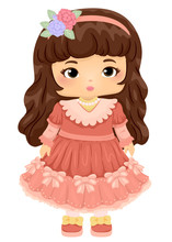 Kid Girl Doll Victorian Illustration