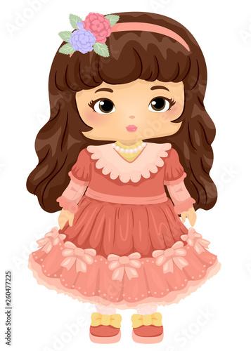 Valokuvatapetti Kid Girl Doll Victorian Illustration