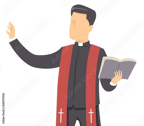 Stampa su Tela Man Priest Bible Preach Illustration