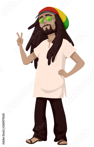 Fototapeta  Man Sub Culture Rastafarian Man Illustration