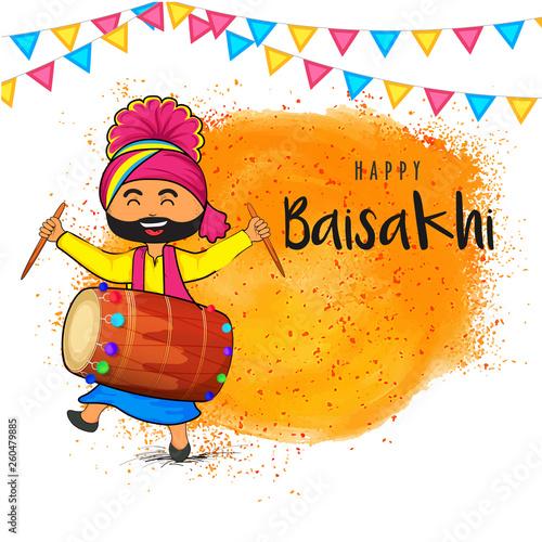 Obraz na plátne Cute punjabi man dancing while playing drum,  Baisakhi celebration concept