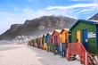 canvas print picture - Beach huts, Muizenberg, South Africa