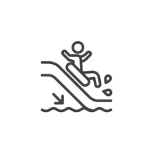 Man Slide Down On Water Slide Line Icon. Linear Style Sign For Mobile Concept And Web Design. Aquapark Water Slide Outline Vector Icon. Symbol, Logo Illustration. Pixel Perfect Vector Graphics