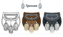 Set With Outline Black And Silver Scottish Sporran Or Small Ornate Bag With White Fur Tassel Isolated On White Background.