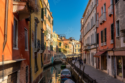 Fototapety, obrazy: Italy, Venice, view of canals between the typical Venetian houses.