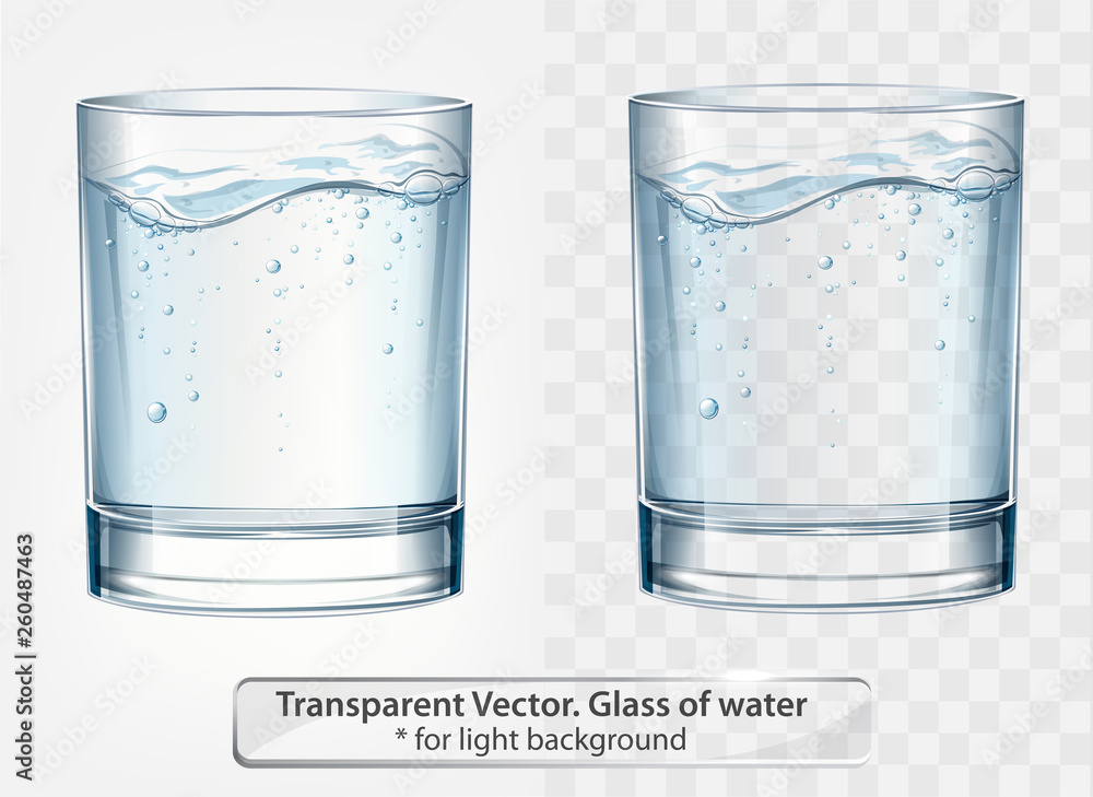 Fototapeta Transparent vector glass of water with fizz on light background
