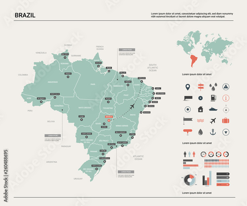 Obraz na plátně Vector map of Brazil