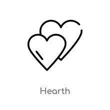 Outline Hearth Vector Icon. Isolated Black Simple Line Element Illustration From User Interface Concept. Editable Vector Stroke Hearth Icon On White Background