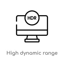 Outline High Dynamic Range Imaging Vector Icon. Isolated Black Simple Line Element Illustration From Ultimate Glyphicons Concept. Editable Vector Stroke High Dynamic Range Imaging Icon On White