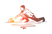 Curling, Winter, Sport, Ice, Stone Concept. Hand Drawn Isolated Vector.