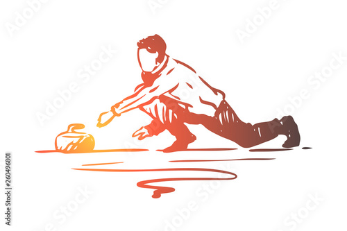 Photographie Curling, winter, sport, ice, stone concept