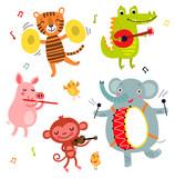 Fototapeta Fototapety na ścianę do pokoju dziecięcego - Cute animals play musical instruments