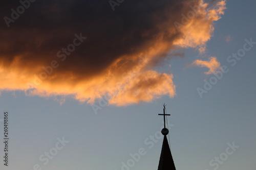 Fotografie, Obraz  pôr-do-sol e a Igreja de Santo Antônio, bairro Centro, cidade de Florianópolis,