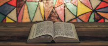 Bible On A Old Wooden Table. B...