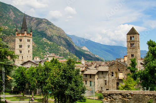 Panoramic view on castel and antic city Susa in Piedmont, Italy Fototapeta