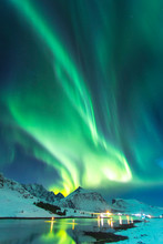 Northern Lights In Winter Time In Norway, Amazing View At Night