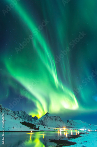 Wall Murals Northern lights Northern lights in winter time in Norway, amazing view at night