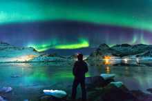 Northern Lights At Night With ...