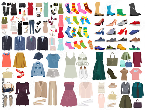 Fotografering vector, isolated, set of clothes and shoes