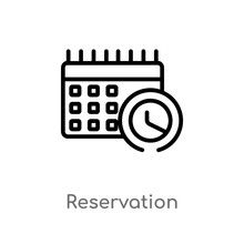 Outline Reservation Vector Icon. Isolated Black Simple Line Element Illustration From Hotel And Restaurant Concept. Editable Vector Stroke Reservation Icon On White Background