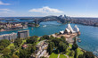 Leinwanddruck Bild Aerial view from the Parade Ground gardens looking towards  the beautiful harbour in Sydney, Australia