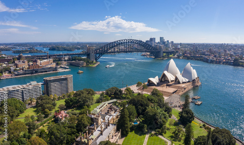 Canvas Prints Sydney Aerial view from the Parade Ground gardens looking towards the beautiful harbour in Sydney, Australia