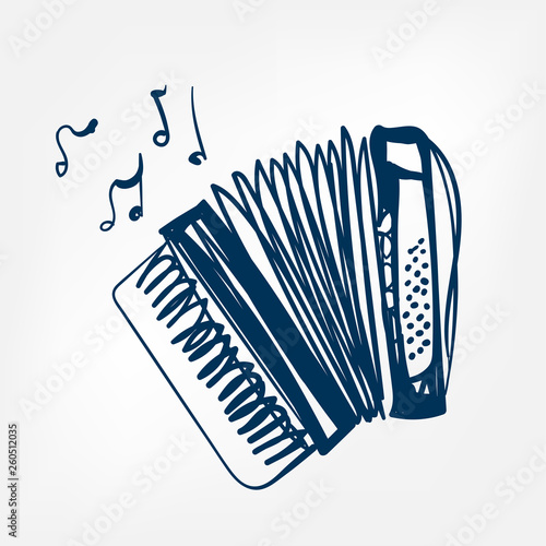 Cuadros en Lienzo accordion sketch vector illustration isolated design element