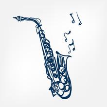 Saxophone Sketch Vector Illust...