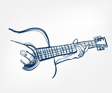 Hands Guitar Sketch Line Vecto...