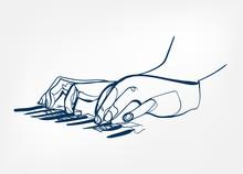 Hands Piano Keys Synthesizer S...