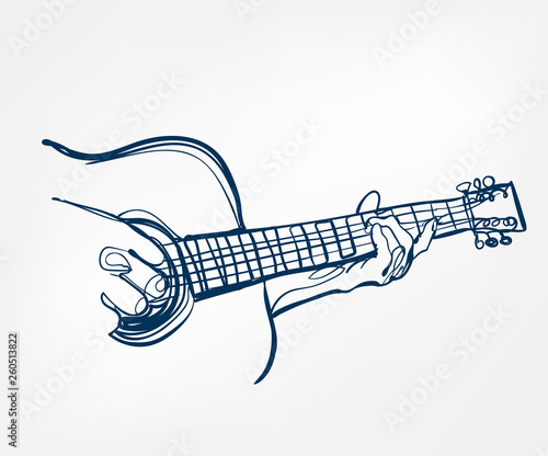 Fotografie, Obraz hands guitar sketch line vector design music instrument