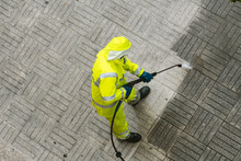 Top View Of A Worker Cleaning ...