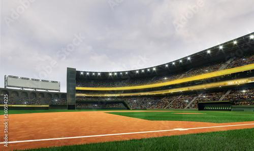 Fotografiet  Modern baseball stadium playground field in cloudy daylight weather, public spor