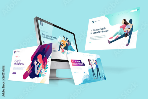 Obraz Web design template. Vector illustration concept of website design and development, app development, seo, business presentation, marketing. - fototapety do salonu