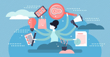 Multitasking Vector Illustration. Flat Tiny Busy Work List Persons Concept.