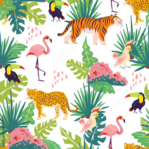 Fotomural Vector flat tropical seamless pattern with hand drawn jungle plants and elements, animals, birds isolated