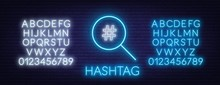 Neon Hashtag Search Sign On Brick Wall Background. Neon Alphabet. Vector Illustration.