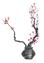 A Branch Of Cherry Blossoms In A Vase. Pink And Red Stylized Flowers Of Plum Mei And  Wild Cherry . Watercolor And Ink Illustration Of Tree In Style Sumi-e, Go-hua.  Oriental Traditional Painting.