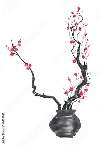 Printed kitchen splashbacks Watercolor Skull A branch of cherry blossoms in a vase. Pink and red stylized flowers of plum mei and wild cherry . Watercolor and ink illustration of tree in style sumi-e, go-hua. Oriental traditional painting.