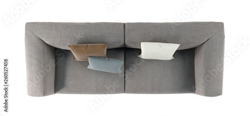 Modern Gray Fabric Sofa With Legs And Pillows On Isolated White