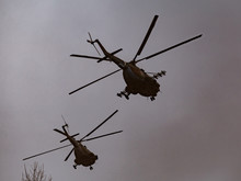 Mi-8 Helicopters In The Cloudy Sky