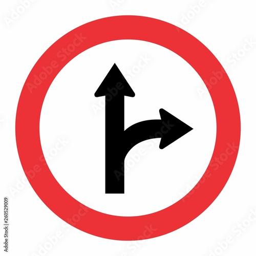 Fotografie, Obraz  Fork Right Traffic Sign